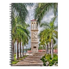 Brighten up your day with a Clock Tower with Palm Trees Island Spiral Note Book