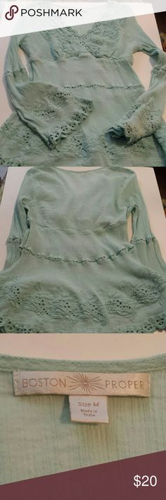 """Boston  proper BOHO long sleeve tunic Cotton tunic with crochet on sleeve and  bottom hem, and top around V-neck.  Pit to pit  17 1/4 flat  (34 1/2) Length 26 1/2 """",   sleeve 23 1/4"""" It's mint green color Boston Proper Tops Tunics"""