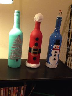 Christmas wine bottle decor