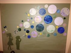 Children blowing bubbles Toddler scribble art -->keepsake art. Painted canvas, cut silhouettes and punched the circles from the kids' artwork. Mod podged everything onto the canvas.