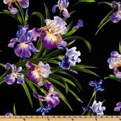 Michael Miller Primavera Iris Black Fabric Designed 100% Cotton By The Yard NEW #Fabric