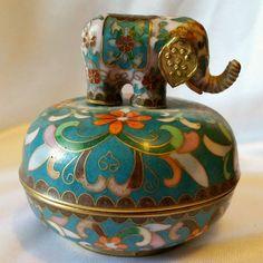 Ardleigh Elliott Chinese Cloisonne Elephant Procession Trinket Music Box 1992