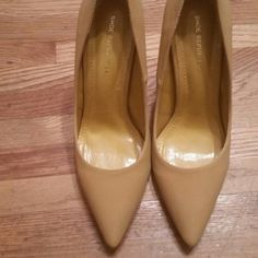 Pointy toe stilletos Nearly new. Worn once. Mustard yellow color. Shoes