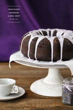 Decadent Chocolate Bundt Cake with Lavender & Earl Gray Tea - a sophisticated and surprisingly delicious flavor combination.