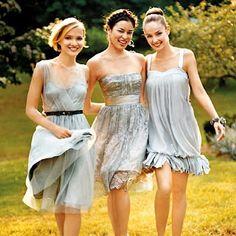 Mismatched bridesmaid dresses.