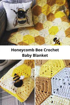 Crochet Bee, Crochet Quilt, Crochet Blanket Patterns, Baby Blanket Crochet, Crochet Crafts, Crochet Projects, Knitting Patterns, Crochet Bedspread, Honeycomb Stitch
