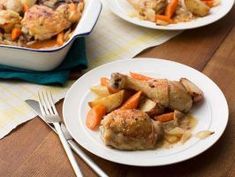 Italian Marinated Chicken : An easy marinade makes Melissa's Italian-style chicken extra juicy and flavorful. She adds onions, carrots and potatoes to the marinade too and cooks everything in one pan.