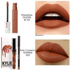 ❗️D U P E P R O O F❗️ A gorgeous pumpkin shade is right at your local drugstore! A great alternative to @kyliecosmetics PUMPKIN (LIP KIT $29, SWATCHED by @mua_ashley_ ) is @maybelline SUPERSTAY LIPSTICK in FIGHTER ($7.49) What do you lovelies think?! #dupeboss #maybelline #kyliecosmetics