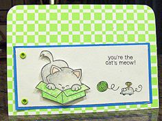 Cat's Meow Card for Inky Paws Go Green Challenge at Newton's Nook Designs!