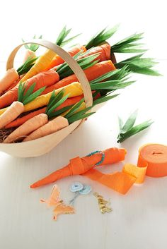 Easter - crepe paper surprise carrots - would be cute to do eggs too!