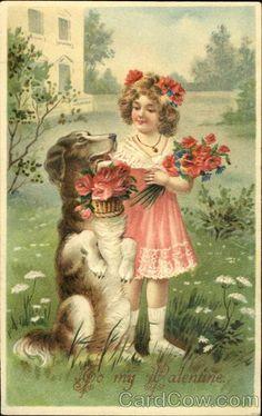 Vintage Postcard Child Dog