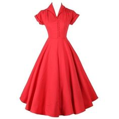 Pleated Plain Vintage Classical Lapel Skater Dress ($23) ❤ liked on Polyvore featuring dresses, red formal dresses, vintage red dress, short formal dresses, knee length dresses and red dress