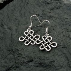 Celtic Earrings - Dangling Antiqued Silver Celtic Knot Earrings, Celtic Jewelry - Everyday Silver Earrings - SE-GSP257 by SilverEnchantments on Etsy