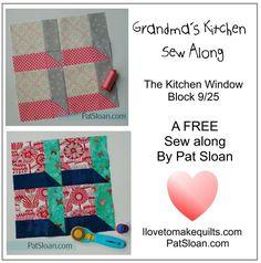 "Pat Sloan Block 9 Grandmas Kitchen free quilt block of the month pattern .. 12"" quilt block attic window http://www.ilovetomakequilts.com/2017/08/free-block-825-grandmas-kitchen-sew-along-novelty-love.html"