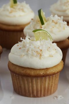 "Key Lime-Coconut Cupcakes | ""I added coconut shreds to the frosting and i will definitely be making it again. So clever how the recipe called for coconut oil instead of butter!"" #cupcakerecipes #bakingrecipes #dessertrecipes #cupcakeideas Easy Cupcake Frosting, Frosting Tips, Cupcake Cakes, Coconut Lime Cupcakes, Key Lime Cupcakes, Cupcake Recipes, Baking Recipes, Dessert Recipes, Food Cravings"