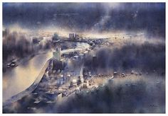 Sci Fi, Watercolor, Pen And Wash, Science Fiction, Watercolor Painting, Watercolour, Watercolors