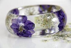 Bracelet en résine vraie fleur Bracelet en résine par JasmineThyme