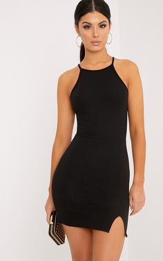 Black High Neck Split Detail Bodycon Dress There's no sexier trend than the bandage dress - curv. Sexy Dresses, Cute Dresses, Evening Dresses, Skin Tight Dresses, Short Black Dresses, Party Dresses, Fitted Dresses, Prom Gowns, Maternity Dresses