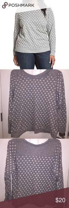Lane Bryant Sweatshirt Gray and white polka dot sweatshirt by Lane Bryant. It's a size 14/16. It is 100% Cotton. Cute with denim or colored bottom. Lane Bryant Tops Sweatshirts & Hoodies