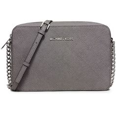 MICHAEL Michael Kors Jet Set Travel Large East-West Quilted Crossbody... ($165) ❤ liked on Polyvore featuring bags, handbags, shoulder bags, steel gray, michael michael kors handbags, travel shoulder bag, travel crossbody, cross body travel purse and chain crossbody