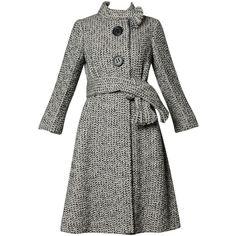 Incredible Pauline Trigere Vintage 1960s Herringbone Wool Coat with... ($850) via Polyvore featuring outerwear, coats, herringbone coat, wool coat, vintage wool coat, herringbone wool coat and woolen coat