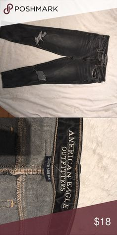 American Eagle jeans Super distressed black cut out knee denim cafe by American Eagle sz 10 crop jeans American Eagle Outfitters Jeans Ankle & Cropped