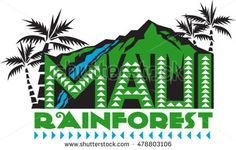 Illustration of the words text Maui Rainforest with mountains, waterfalls, forest and palm trees in the background done in retro style. #rainforest #retro #illustration
