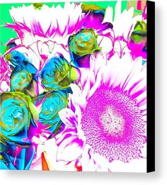 Technicolor Bouquet Canvas Print by Onedayoneimage Photography.  All canvas prints are professionally printed, assembled, and shipped within 3 - 4 business days and delivered ready-to-hang on your wall. Choose from multiple print sizes, border colors, and canvas materials.