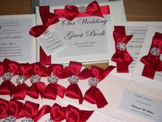 Handmade Couture The Winter Crystal cheque book wedding invitation with red ribbon  x 1 sample. £3.75, via Etsy.