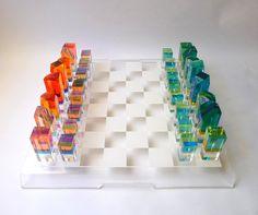 Modernist Lucite Chess Set: #Chess_Set http://www.etsy.com/listing/83802005/modernist-lucite-chess-set-vasa-hollis