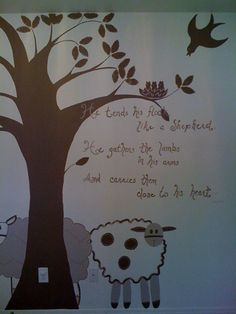 This verse with silhouettes of sheep on the wall would be super cute.