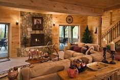 Gas fireplace, carpeted, walk-out basement with rustic pine tongue and groove walls and ceiling.