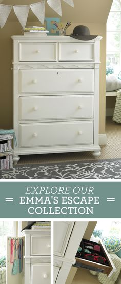 Far from your standard chest, the Emma's Escape chest was designed to accommodate the girl who likes to accessorize!