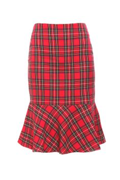 Saia Xadrez Midi Babados Vermelha - roupas-saias-saia-xadrez-midi-babados-vermelha Iorane
