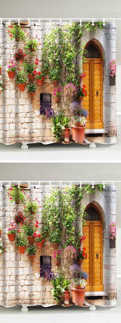 home decor:Street Flower Door Pattern shower curtain