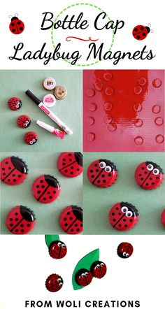 Bottle Cap Ladybug -These super cute upcycled ladybugs are so easy to … - Upcycled Crafts Upcycled Crafts, Lady Bug, Bottle Top Art, Beer Bottle, Wine Bottles, Diy Bottle Cap Crafts, Bottle Cap Projects, Red Spray Paint, Spray Paint Projects