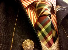 Shipley & Halmos shirt; Paul Smith tie; Vince sweater; Levi's jacket