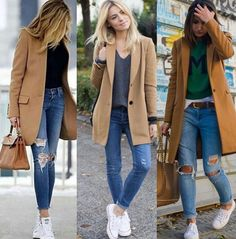 Blazer and Jeans Outfit Casual Winter Outfits, Classy Outfits, Chic Outfits, Fall Outfits, Fashion Outfits, Fashion Trends, Fashion Clothes, White Sneakers Outfit, Mode Outfits