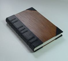 Handmade book, bound in leather and wood, with decorative raised bands | JonathanDayBookArt - Paper/Books on ArtFire