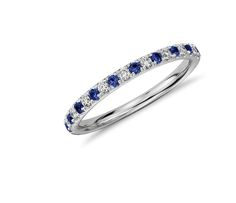 Blue Nile Pavé Sapphire and Diamond Ring in 14K White Gold #wedding