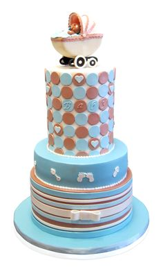 Blue And Tan Baby Shower Cake We just loved making this really 'Extra Tall' baby shower cake! The effect of the height gave it a really different look and the 15 guests were very impressed! The client requested shades of baby blue and tan and we were happy to oblige. The base is a circle, covered in a baby blue ... http://cmnycakes.com/gallery2/v/Cakes+For+All+Occasions/Blue+And+Tan+Baby+Shower+Cake.html