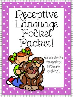 The Receptive Language Pocket Packet is the perfect resource for the busy SLP!It's convenient, fun for students, and targets receptive language skills in a variety of fun ways.This download includes:-Directions page- 54 cards with four super cute clip art pictures on each card, and one questions on each card.