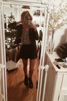 NEW YEARS OUTFIT // i literally came up with this last minute BUT here it is! brandy melville skirt, leather jacket, urban bralette, long necklace, abercrombie sparkly crop top, + rag & bone combat...