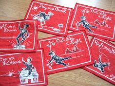 Out like a Light - vintage cocktail napkins, c. 1940s. For sale in the shop!