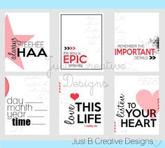 Love this Life Project Life Printables by justbcreativedesigns, $2.50