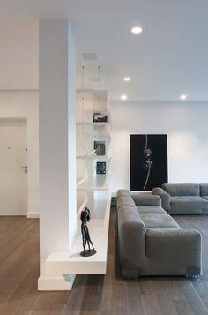 House S, Roma, 2012 - Alvisi Kirimoto + Partners Columns Decor, Interior Columns, Living Room Partition Design, Room Partition Designs, Home Room Design, Home Interior Design, House Design, Living Room Wall Units, Living Room Interior