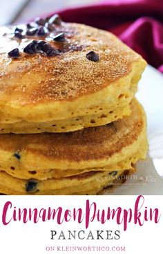 Cinnamon Pumpkin Pancakes with added mini chocolate chips are the perfect breakfast recipe. Simple to make & loaded with all your favorite flavors of fall.