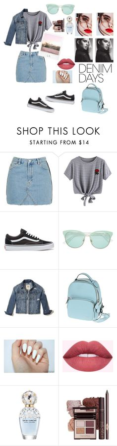 """""""Denim Days"""" by love-emilyyyy ❤ liked on Polyvore featuring Topshop, WithChic, Vans, Gucci, Hollister Co., Bally, Polaroid, Marc Jacobs and denimskirts"""