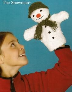Knitting Pattern Leaflet Sirdar 2068 The Snowman Glove Puppet Glove Puppets, Hand Puppets, Craft Patterns, Knitting Patterns, Crochet Patterns, Crochet Cross, Knit Or Crochet, Novelty Toys, Dog Coats