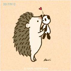 1276 キス I want to kiss you. Hedgehog Tattoo, Hedgehog Drawing, Hedgehog Art, Cute Hedgehog, Hedgehog Illustration, Cute Illustration, Cute Little Drawings, Cute Drawings, Happy Hedgehog